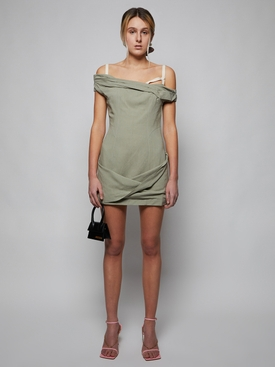 La Robe Foglio linen mini dress, sage green