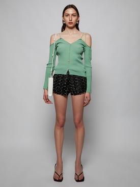 Le Cardigan Tordu Knit Top, Green