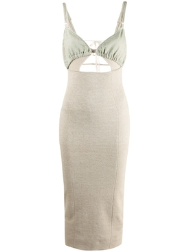 LA ROBE PILA DRESS, BEIGE AND GREEN