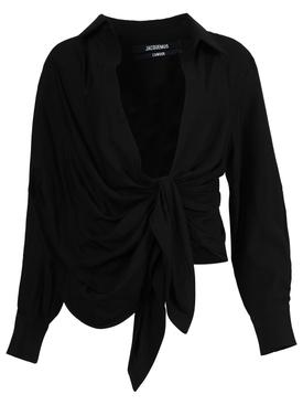 La Chemise Bahia Tie Front Top, Black