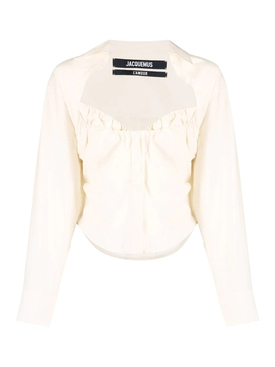 La Chemise Tovallo Long-sleeve Blouse, off-white