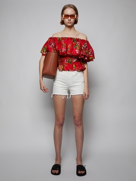 Silk floral print blouse, Lava Red