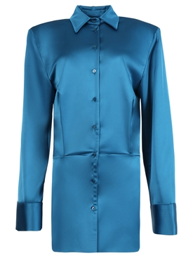 Satin Shirt Dress, Lagoon