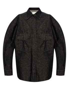 Black Cotton Denim Shirt