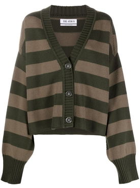 Striped merino wool cardigan ARMY GREEN