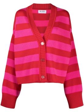 Striped merino wool cardigan FUCHSIA AND RED