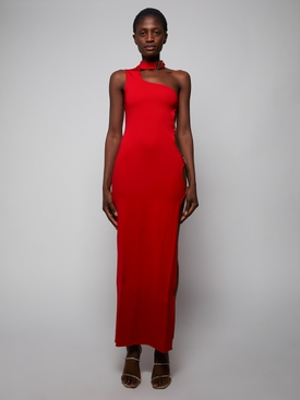 Red cut-out midi dress