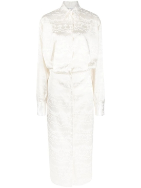 Blurred jacquard midi dress, white