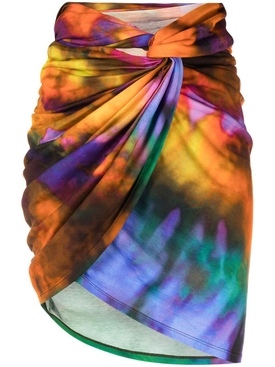 MULTICOLOR DRAPED MINI SKIRT