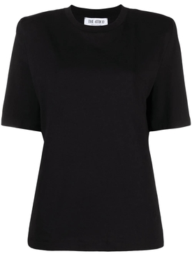 Structured shoulder t-shirt BLACK