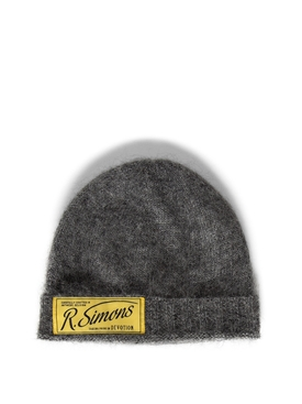 Knit Beanie With Woven Label GREY
