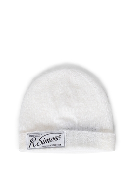 Knit Beanie With Woven Label WHITE