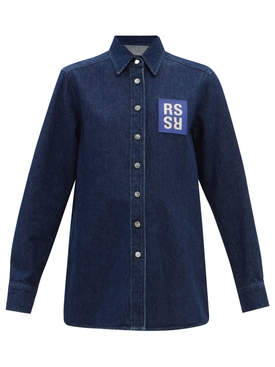 Straight Fit Denim Shirt With Rs In Front