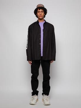 Shirt With Hood And Print On Sleeve Black
