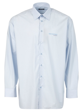 Big fit shirt with embroidered text in back light blue