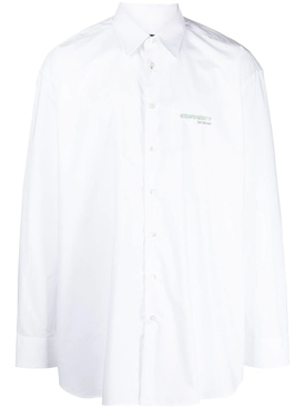 Big fit shirt with embroidered text in back white