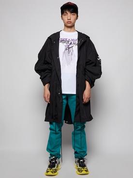 Oversized printed parka jacket black