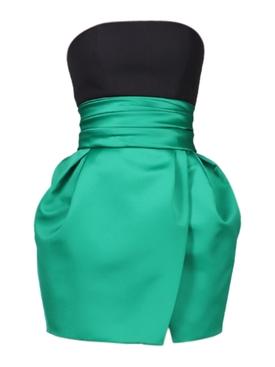 Strapless Bustier Mini Dress, emerald green