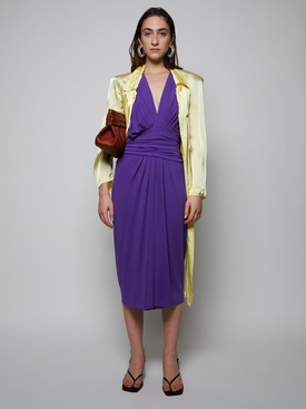 Draped Mid-length V-neck Dress, Violet Purple