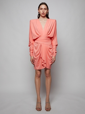 Draped Long-sleeve Mini Dress, Coral