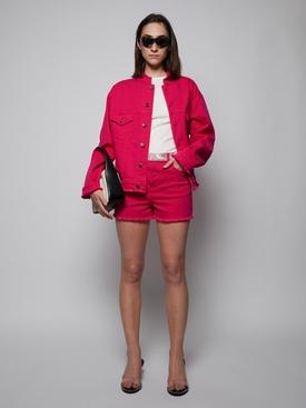 Freyed Neckline Denim Jacket, Red