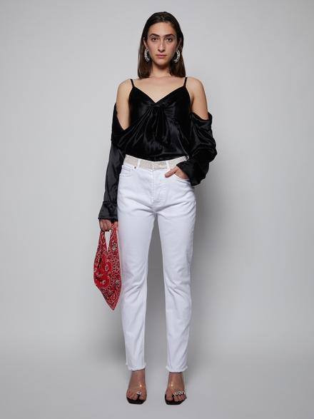 Alexandre Vauthier High Waist Crystal Belt Jeans, White