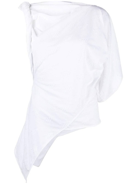 Asymmetric Cotton T-shirt, White