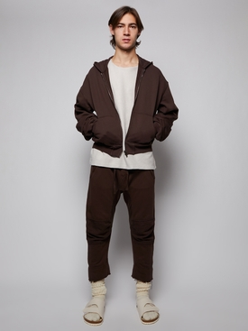 EMBROIDERED ZIPPED HOODIE, CHOCOLATE