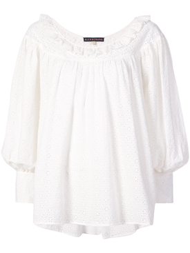 embroidered long-sleeve blouse WHITE