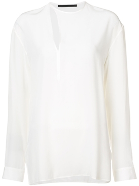 cut out detail blouse WHITE