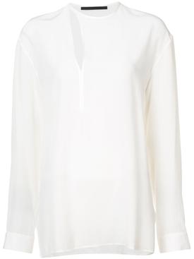 cut out detail blouse WHITE