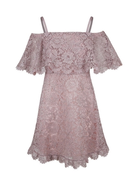 Cotton-Blend Lace Minidress PURPLE