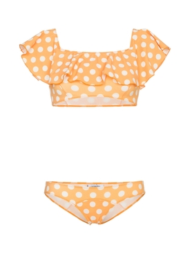 mira polka dot flounce bikini ORANGE