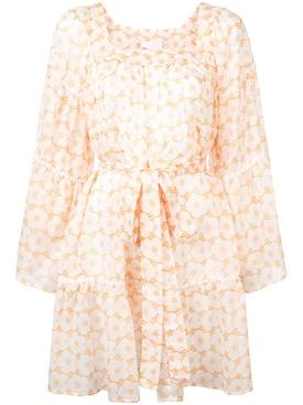 floral frilled sheer dress