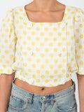 Lisa Marie Fernandez - Diana Yellow Polka Dot Linen Top Yellow - Women