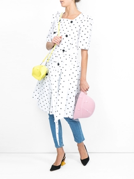 Diana polka dot linen dress WHITE