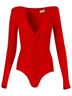 Deep V-neck Bodysuit Red