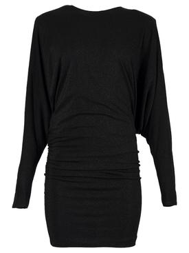 Draped Lurex Mini Dress Black