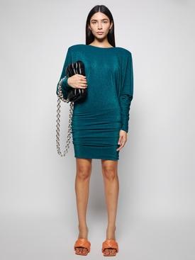 Draped Lurex Mini Dress Green