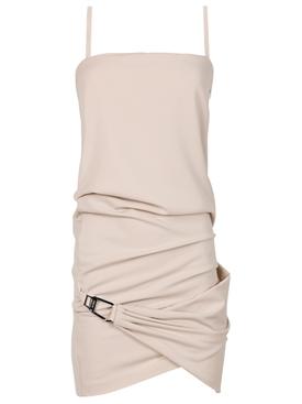 Draped Mini Dress Mastic White