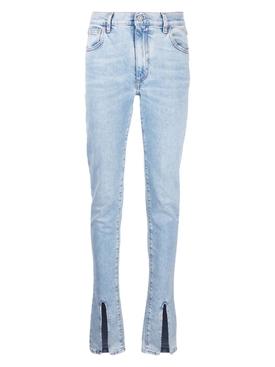 Split Hem Skinny Jeans Light Blue