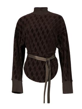 Velvet Effect Sweater Coffee Brown