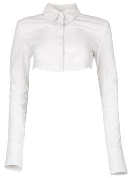 Cropped Crisp Cotton Shirt White