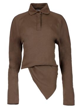 Long-sleeve Polo Shirt Taupe Brown