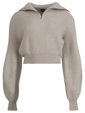 Cashmere half-zip knit sweater, beige