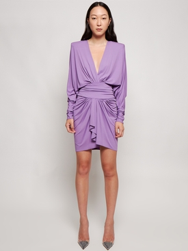 Draped mini dress with long sleeves and shoulder pads mauve purple