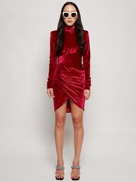 velvet drape wrapped dress cherry red