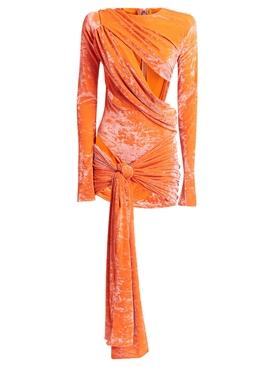 ASYMMETRIC CUT-OUT DRESS SUNSET ORANGE