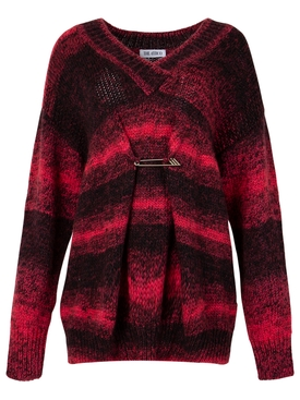PIN CINCHED V-NECK SWEATER BLACK AND MAGENTA