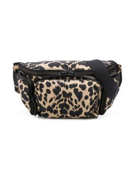 Black and Beige Leopard Print Belt Bag